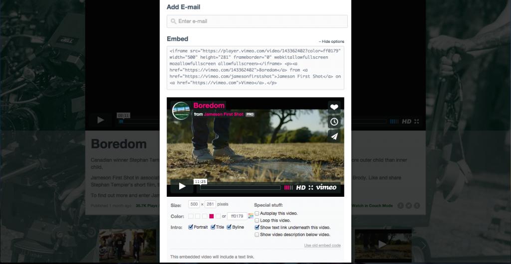 vimeo more options