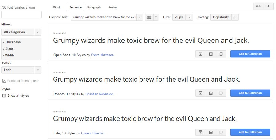 fonts at google