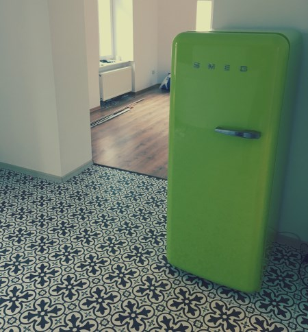 Smeg fridge in a bright kitchen