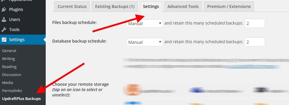 UpdraftPlus-settings