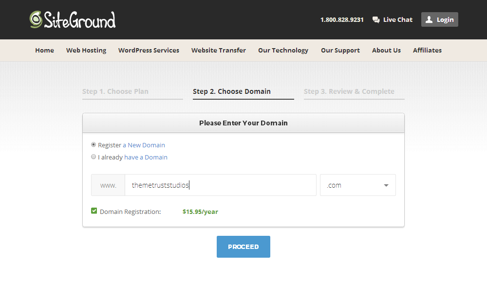 SiteGround - Choose Domain