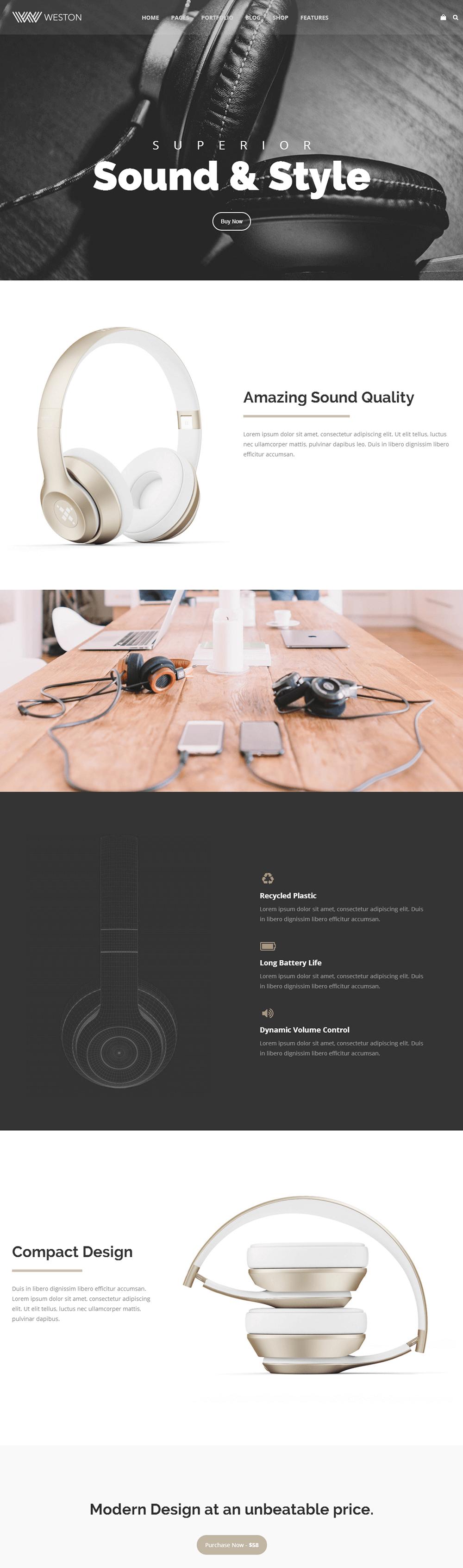 Weston - Product Landing Demo