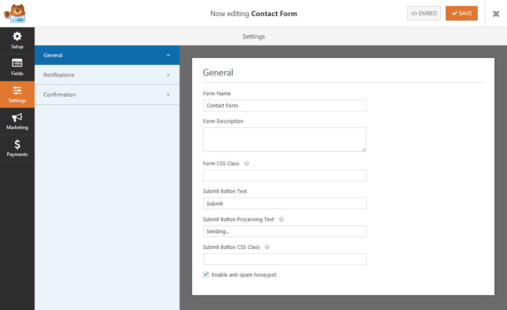 WPForms - General Settings