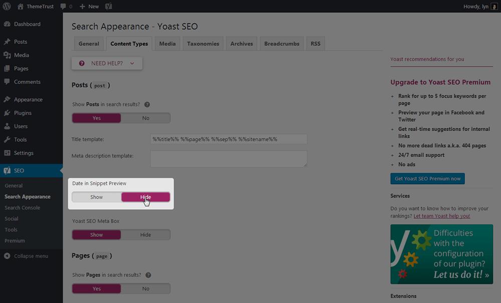Search Appearance - Yoast SEO