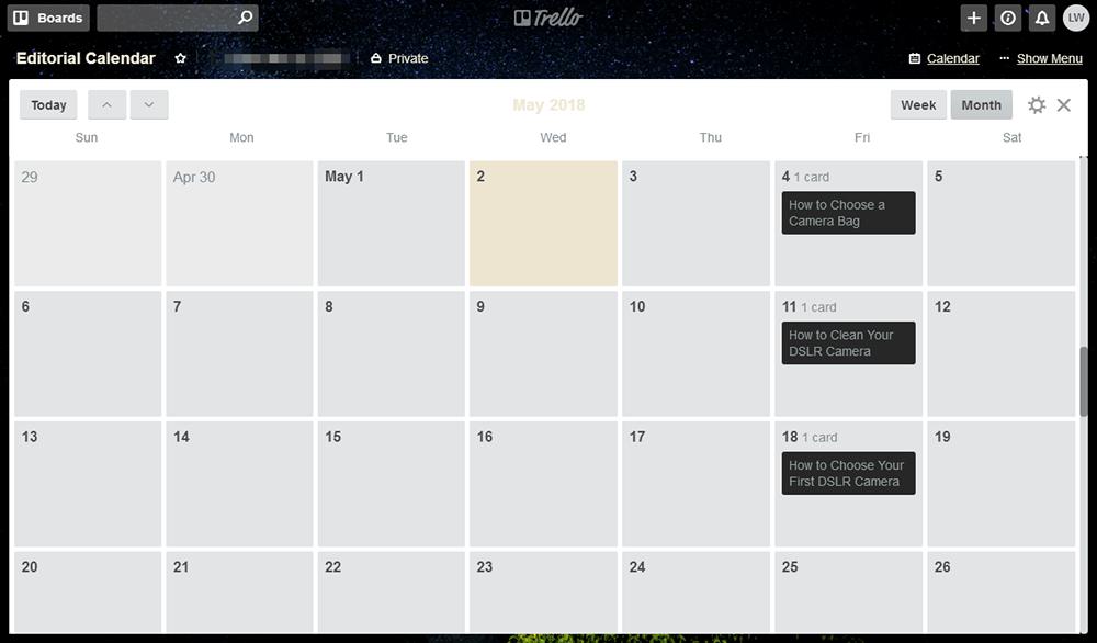 Trello - Editorial Calendar
