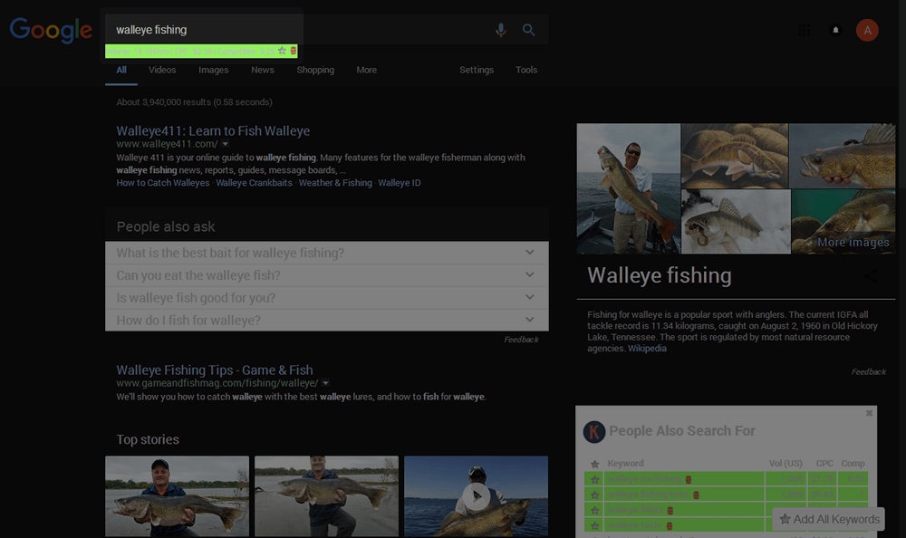 Walleye Fishing - Search Volume Metric