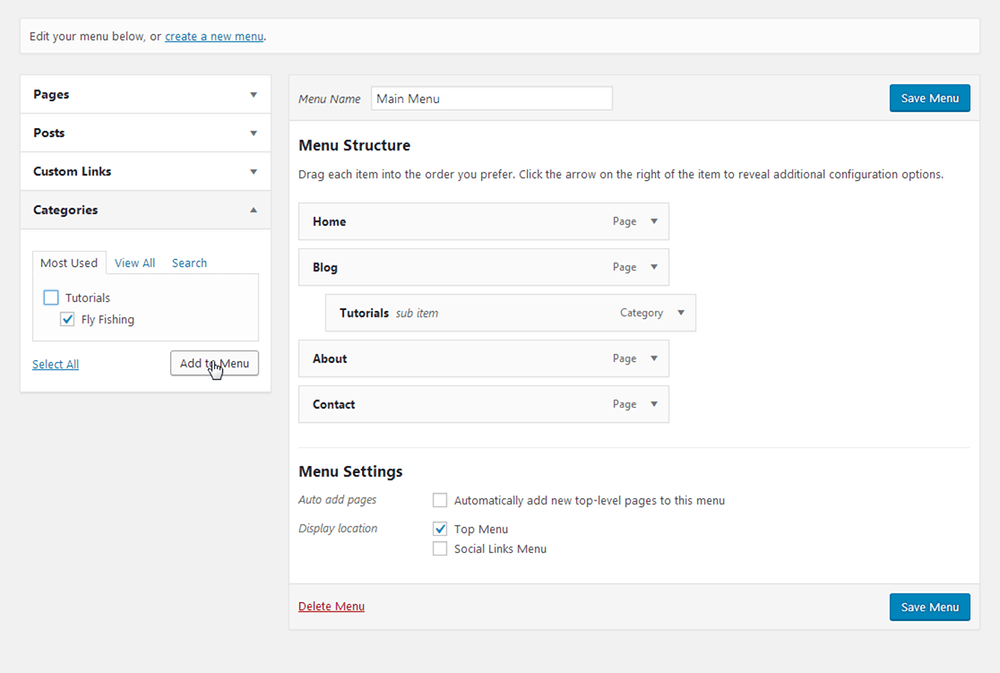WordPress - Add Categories to Menu